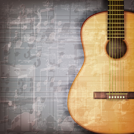 classical guitar: abstract grunge gray music background with acoustic guitar