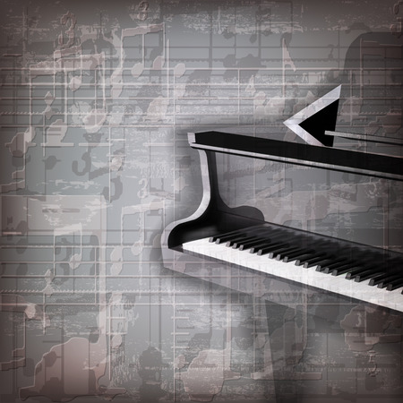 abstract grunge gray music background with grand piano Çizim