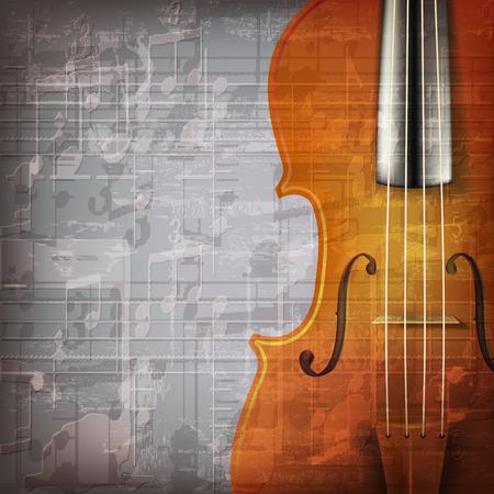 ヴァイオリンと抽象的なグランジの灰色音楽の背景