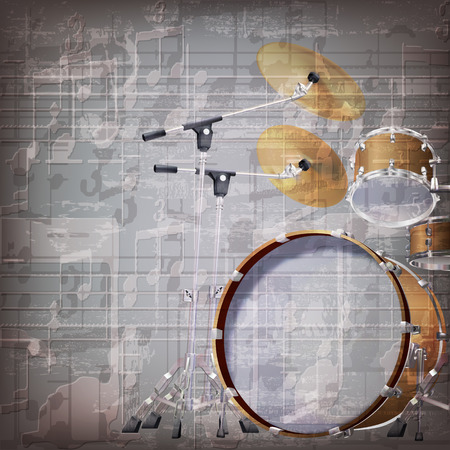 drum kit: abstract grunge gray music background with drum kit