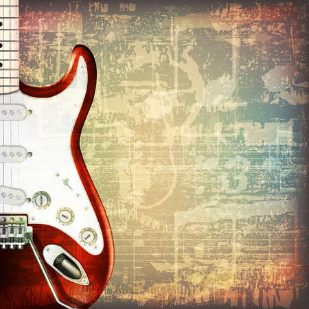abstract grunge cracked music symbols vintage background with electric guitar