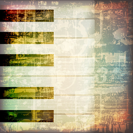 abstract grunge cracked music symbols vintage background with piano keys