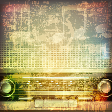 retro radio: abstract grunge cracked music symbols vintage background with retro radio
