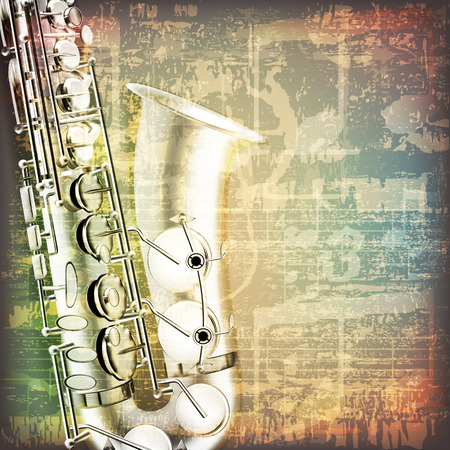 abstract grunge cracked music symbols vintage background with saxophone