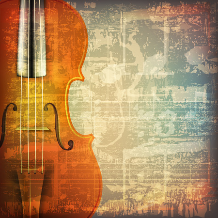 classical theater: abstract grunge cracked music symbols vintage background with violin