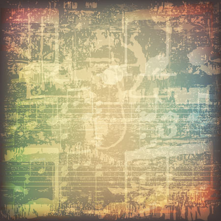 old piano: abstract grunge cracked music symbols vintage background Illustration