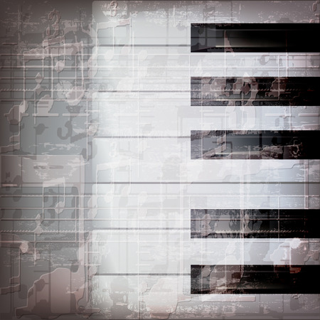 abstract grunge gray music background with piano keys