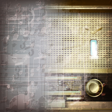 retro radio: abstract grunge gray music background with retro radio