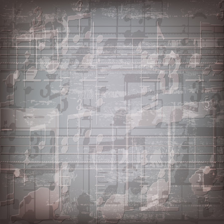 abstract grunge gray music symbols background
