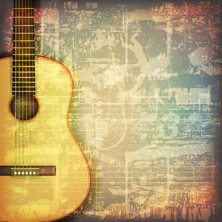 abstract grunge cracked music symbols vintage background with acoustic guitar