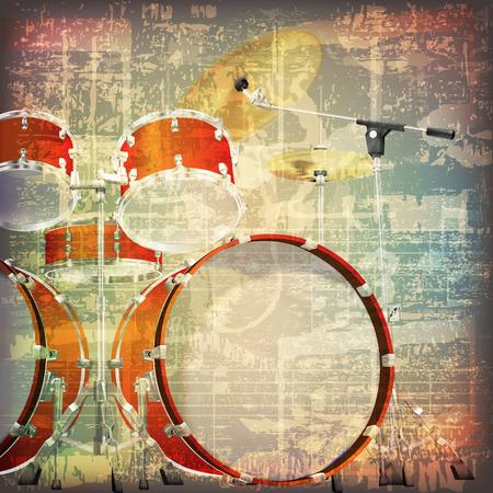 abstracta grunge agrietado símbolos de la música de fondo de la vendimia con kit de batería