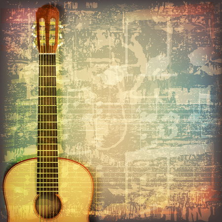 gitara: abstrakcyjne grunge pęknięty symbole muzyczne Vintage tło z gitarą