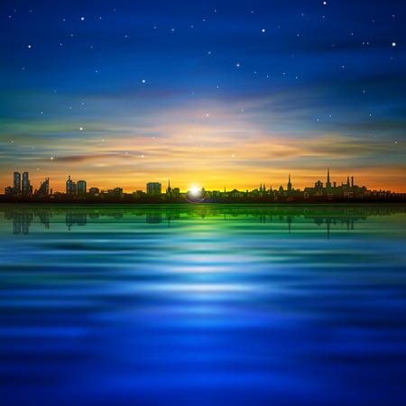 sfondo natura: natura sfondo astratto con panorama Tallinn e l'alba d'oro