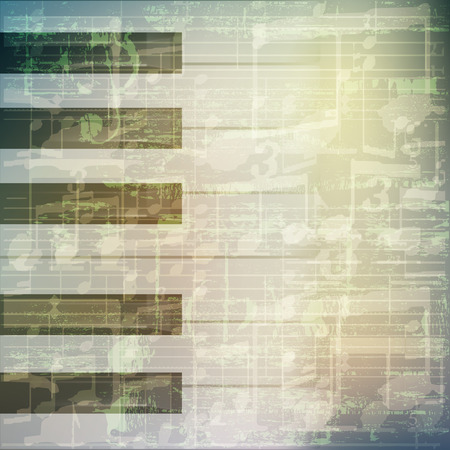 abstract grunge green cracked music symbols vintage background with piano keys