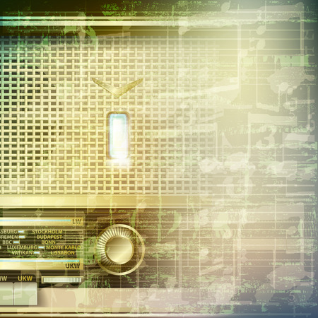 retro radio: abstract grunge green cracked music symbols vintage background with retro radio
