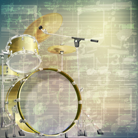 drum kit: abstract grunge green cracked music symbols vintage background with drum kit Illustration