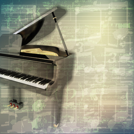 old sheet music: abstract grunge green cracked music symbols vintage background with grand piano Illustration
