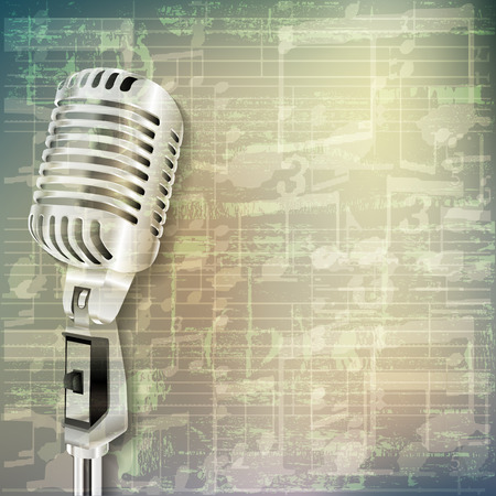 retro microphone: abstract grunge green cracked music symbols vintage background with retro microphone Illustration