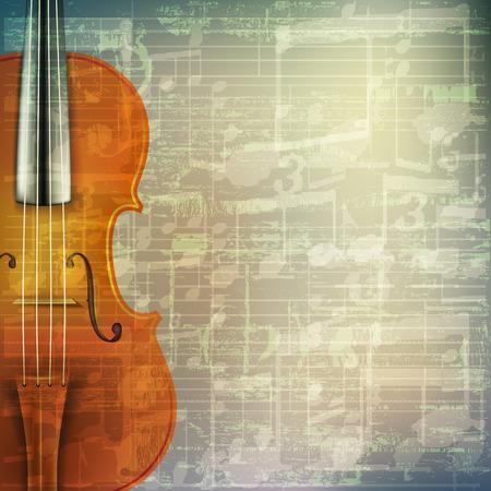 ヴァイオリンと抽象的なグランジ緑にひびの入った音楽シンボル ビンテージ背景