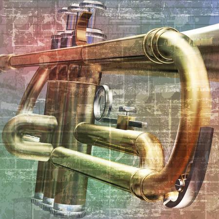 soprano saxophone: abstracto gris grunge fondo de la vendimia con el sonido de la trompeta