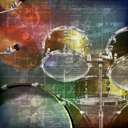 abstract green grunge vintage sound background with drum kit Stock Illustratie