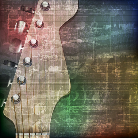 loudly: abstract green grunge vintage sound background with guitar