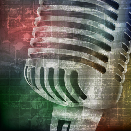 abstract green grunge vintage sound background with retro microphone