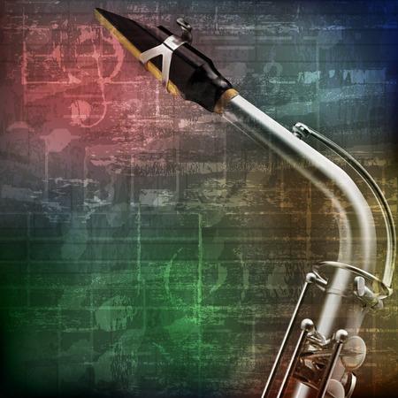 soprano saxophone: grunge abstracto fondo verde sonido vendimia con el saxofón