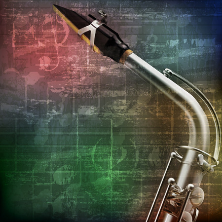 abstract green grunge vintage sound background with saxophone
