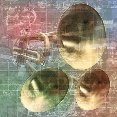 troubadour: abstract grunge vintage sound background with trumpets