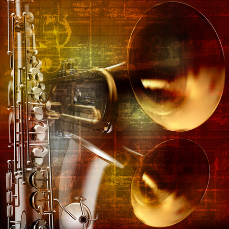 blare: abstract grunge vintage sound background with trumpet and saxophone