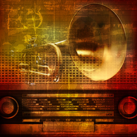 retro radio: abstract grunge sound background with trumpet and retro radio