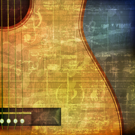 abstract green grunge vintage sound background with acoustic guitar