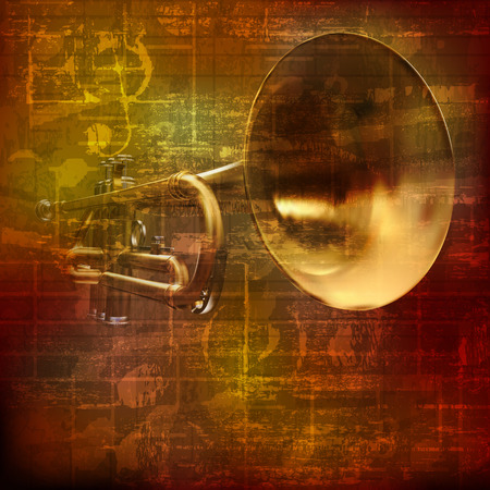abstract grunge brown vintage sound background with trumpet