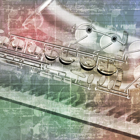 abstract grunge sound background with saxophone and piano keys