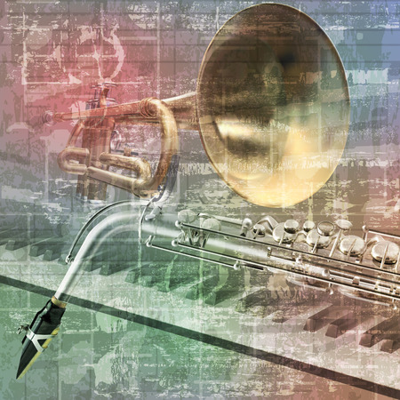 abstract grunge sound background with trumpet saxophone and piano
