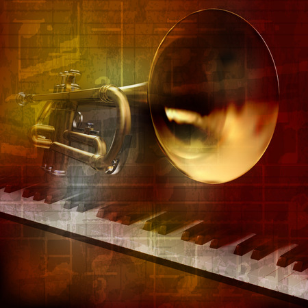 blare: abstract grunge vintage sound background with trumpet and piano