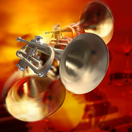 abstract red musical background with piano drums and trumpet