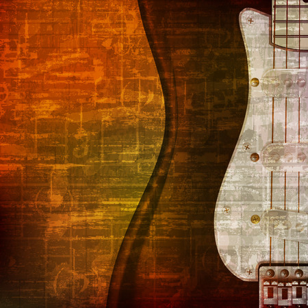abstract brown grunge vintage sound background with electric guitar