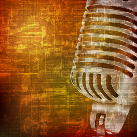 abstract brown grunge vintage sound background with retro microphone