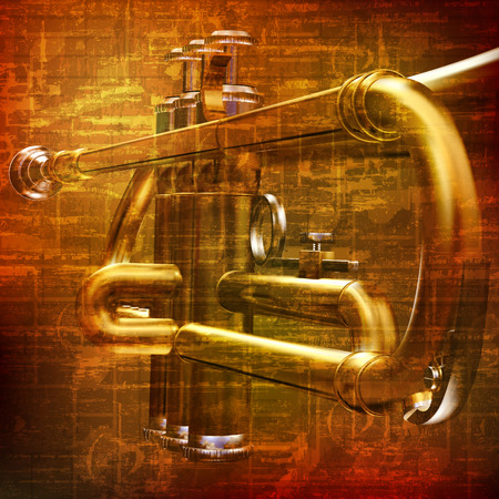 abstract brown grunge vintage sound background with trumpet