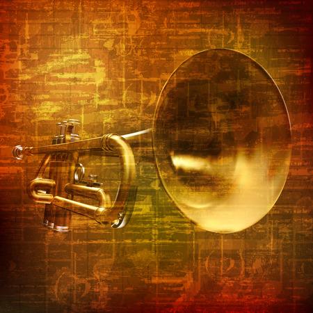 trompeta: abstracta grunge fondo marrón sonido de la vendimia con la trompeta