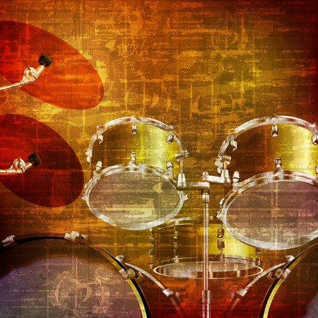 abstract brown grunge vintage sound background with drum kit