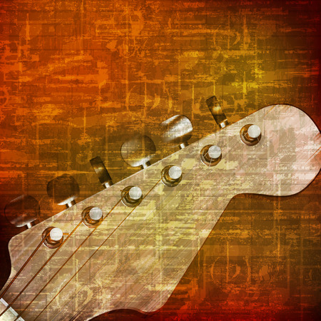 troubadour: abstract brown grunge vintage sound background with guitar Illustration