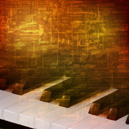 abstract brown grunge vintage sound background with piano keys