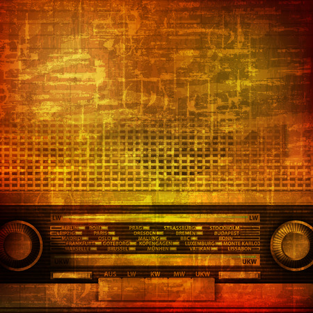 retro radio: abstract brown grunge vintage sound background with retro radio