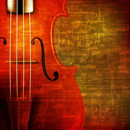 troubadour: abstract brown grunge vintage sound background with violin Illustration