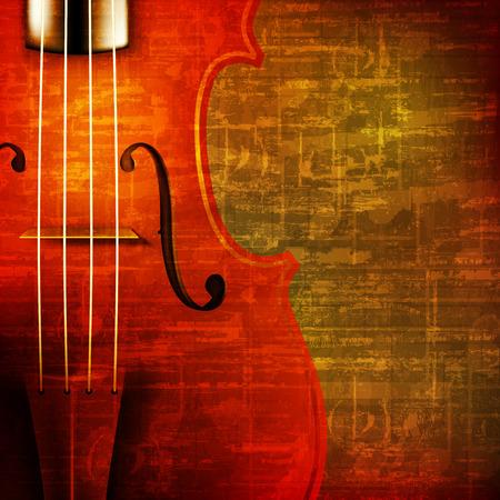 chiave di violino: astratto sfondo marrone grunge suono vintage con violino Vettoriali