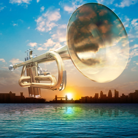 london night: abstract sunrise background with silhouette of London and trumpet