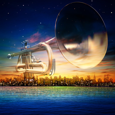 classical theater: abstract sunrise background with silhouette of New York and trumpet